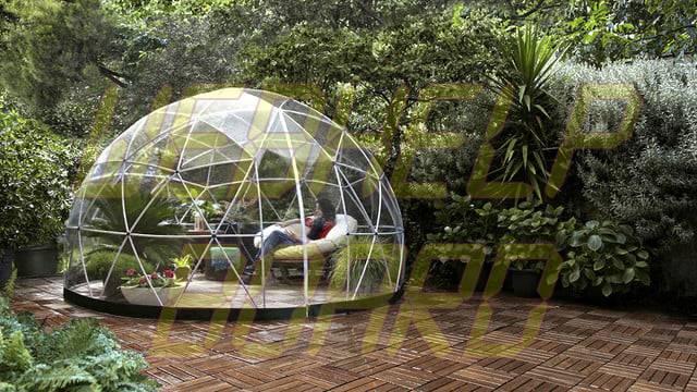 el iglú del jardín es una cúpula geodésica para su césped 003