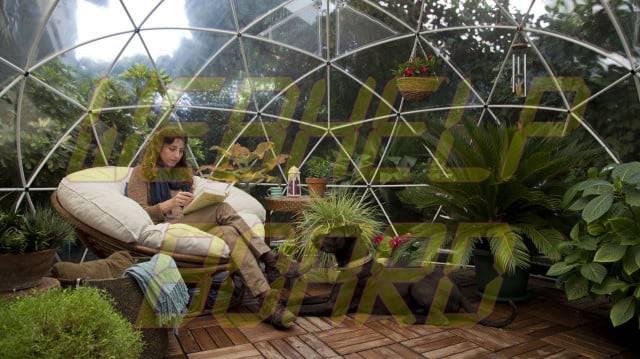 el iglú del jardín es una cúpula geodésica para su césped 004