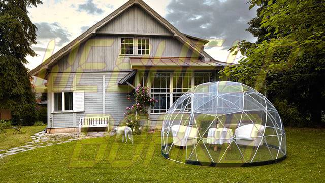 el iglú del jardín es una cúpula geodésica para su césped 005