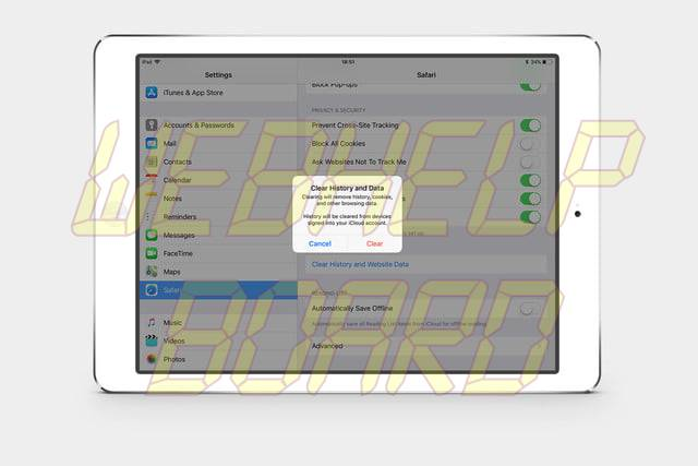 how to clear cookies on an iPad