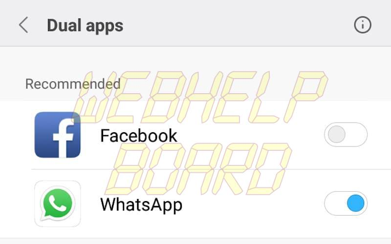 dual apps settings WhatsApp