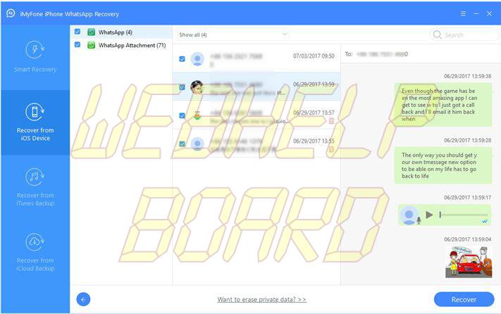 iMyFone D-Back iPhone WhatsApp Recovery-preview-scan-resultado