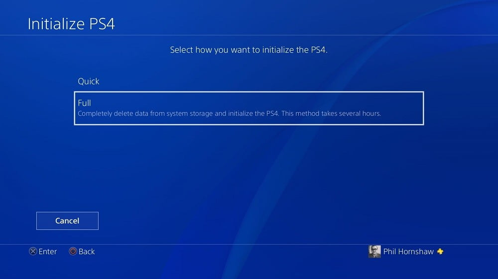 how to factory reset a ps4 playstation 4 initialization full