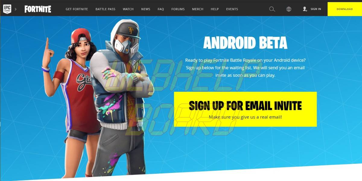 Signup for Fortnite Battle Royale on Android