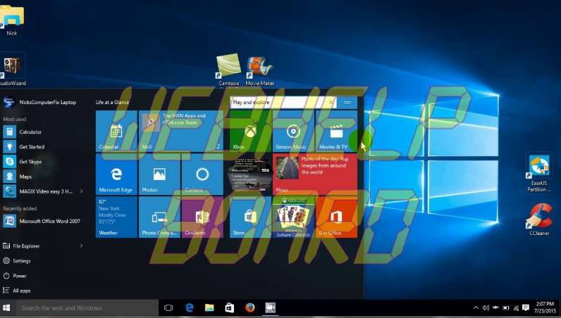 Menú Inicio de Windows 10