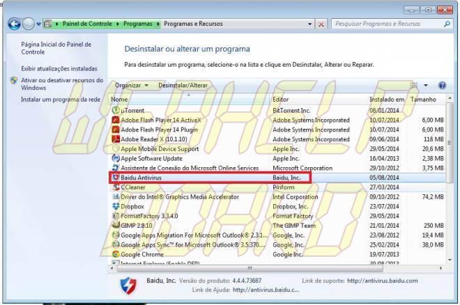 baidu antivirus remover - Como remover: Baidu Antivírus