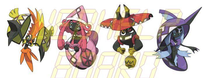 from left to right tapus koko lele bulu and fini - Como pegar todos os lendários em Pokémon Sun & Moon