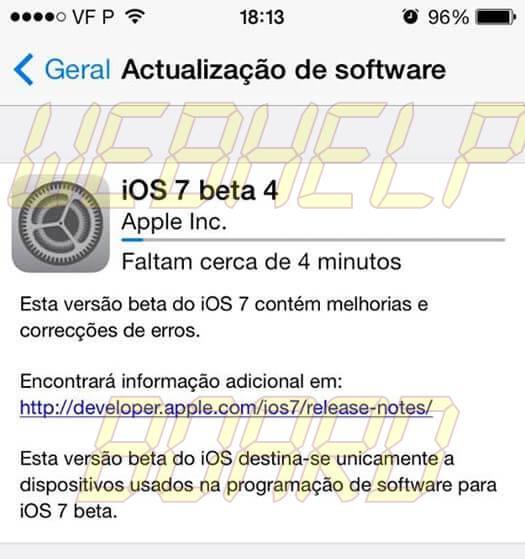 iOS 7 beta 4 - Apple libera iOS 7 Beta 4 para iPhones, iPads e iPod Touch