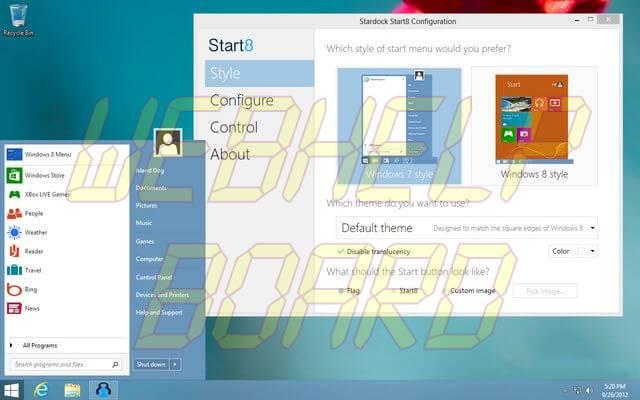 1 start8 0951 - Start8 e ViStart trazem de volta o Menu Iniciar no Windows 8