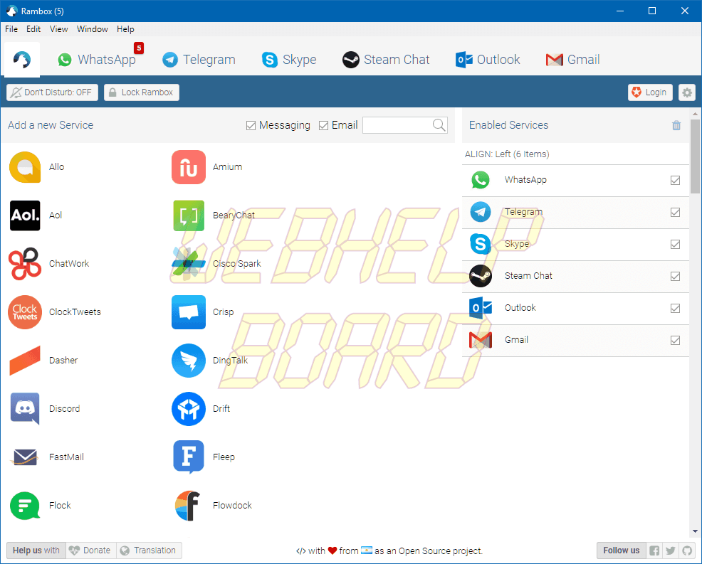 rambox02 - Como proteger com senha no PC o WhatsApp, Messenger e Telegram