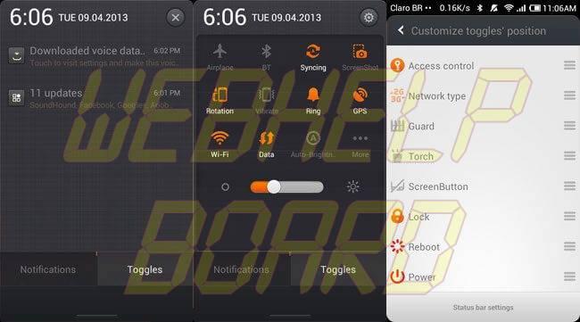 miui toggles - REVIEW : ROM MIUI v5 Style Beta 3.0 para o Samsung Galaxy S2 GT-i9100