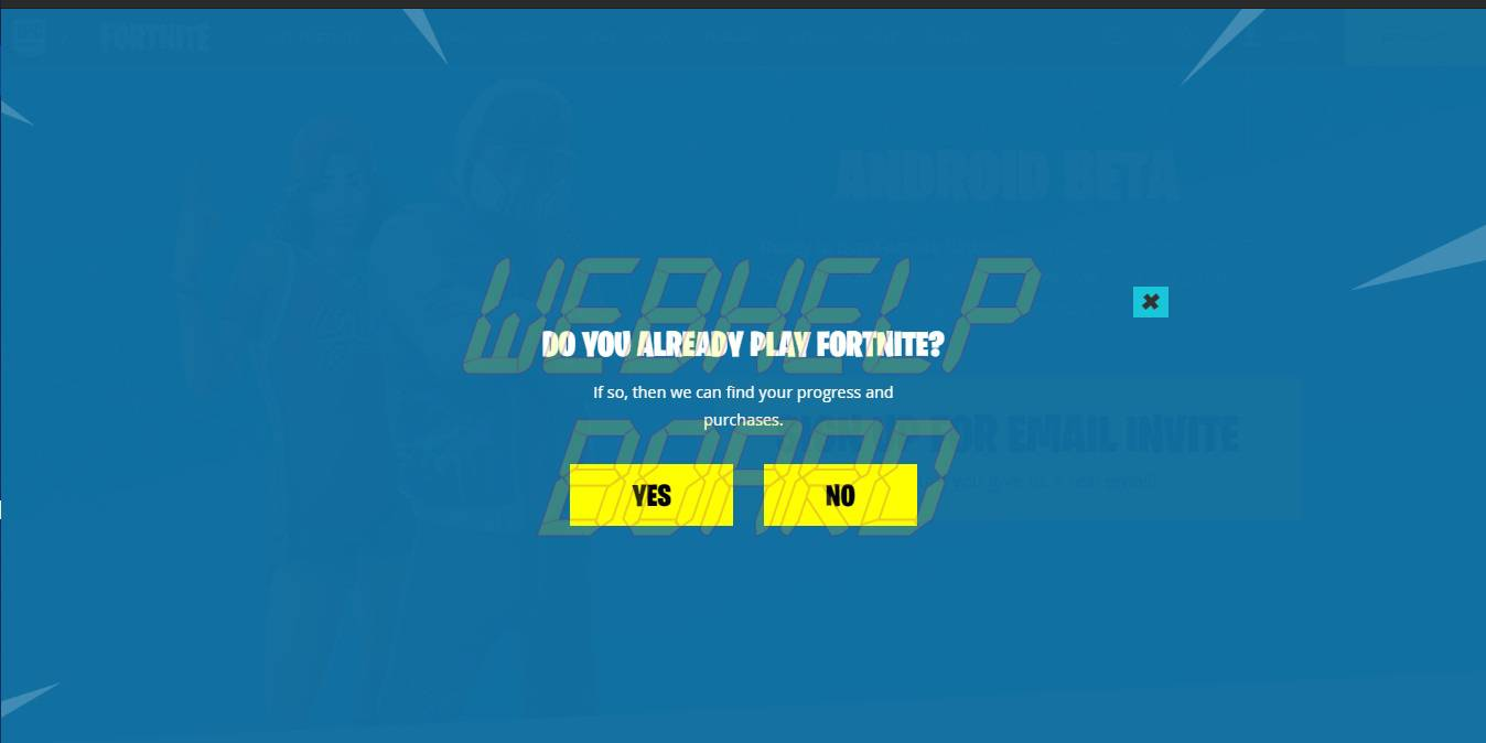 Fortnite on Android-SignUp