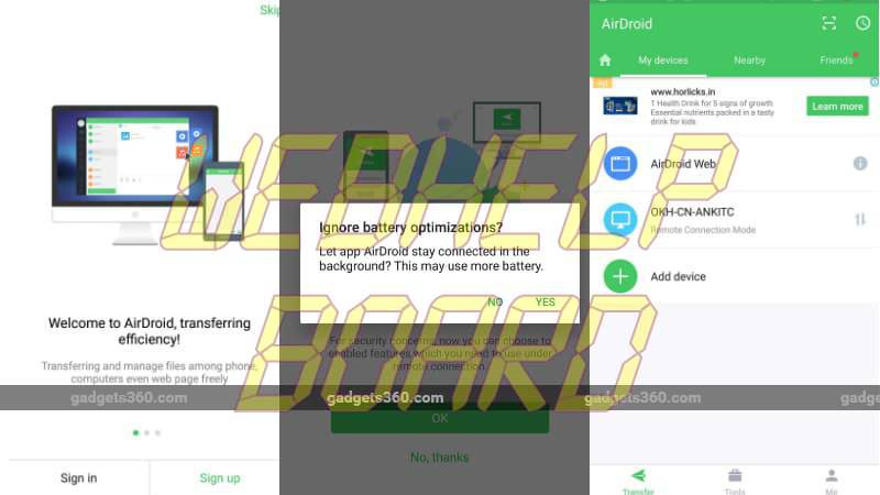 free app share files Windows Android
