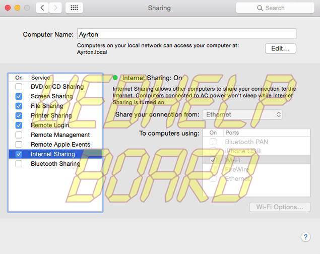Use OS X MacBook as Wi-Fi Hotspot