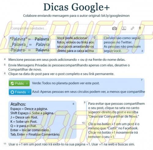 GooglePlusCheatSheet ptBR 500x491 - Dicas e truques para dominar o Google+