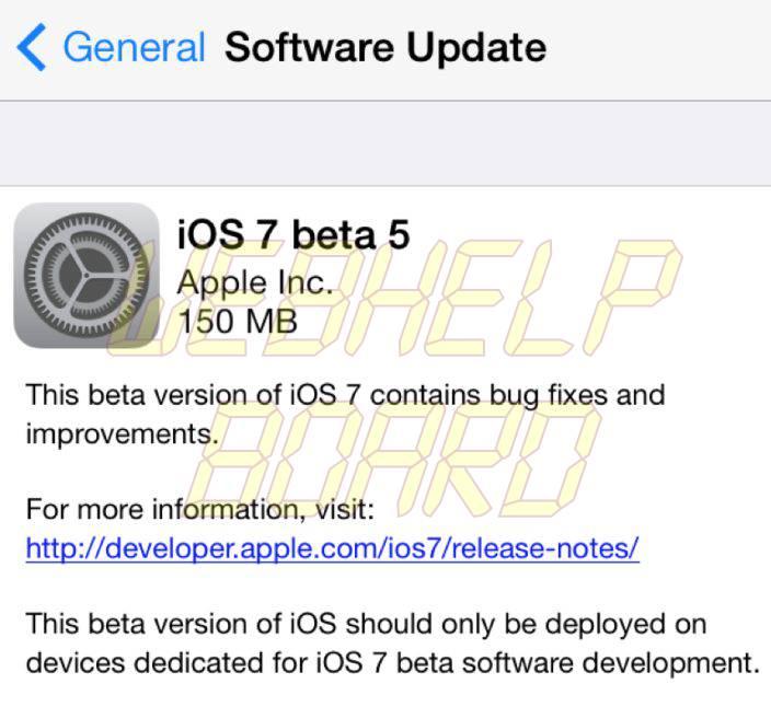ios7 beta5 release - iOS 7 beta 5 já está disponível para desenvolvedores