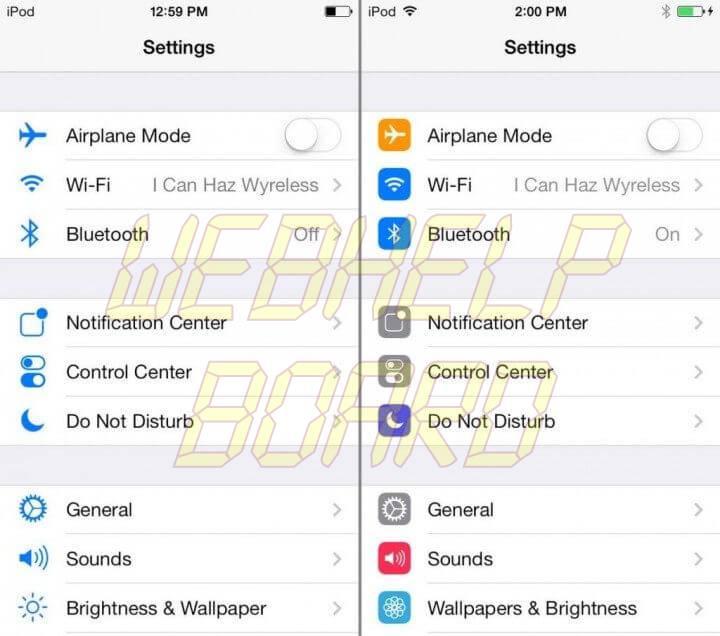 iosbeta3 vs iosbeta5 720x636 - iOS 7 beta 5 já está disponível para desenvolvedores