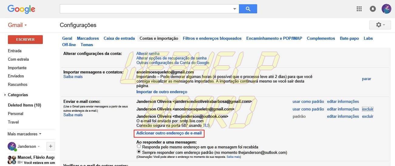 gmail tutorial 02 - Como combinar duas ou mais contas do Gmail