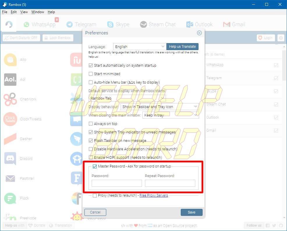 rambox04 - Como proteger com senha no PC o WhatsApp, Messenger e Telegram