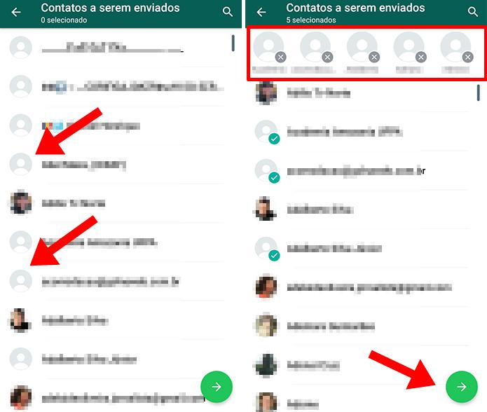 Selecione vários contatos - Tutorial: Como mandar vários contatos ao mesmo tempo no WhatsApp