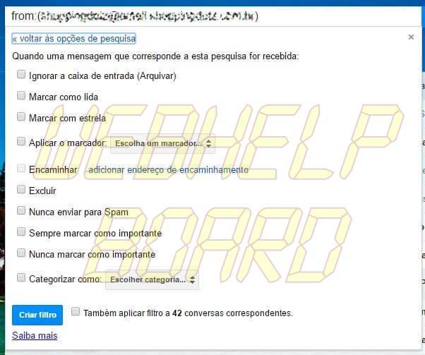 passo 3 - Tutorial: Como filtrar mensagens no Gmail