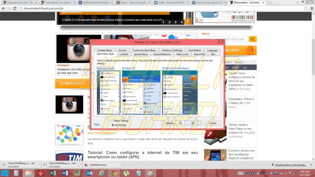 menuclassic - Windows 8: como trazer o menu iniciar de volta